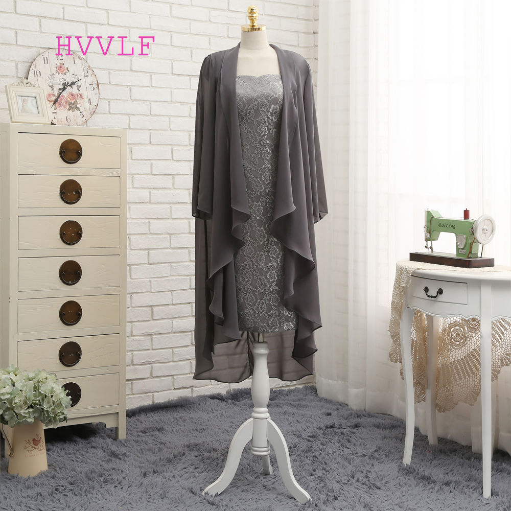 Plus Size Gray 2019 Mother Of The Bride Dresses Sheath Knee Length With Jacket Lace Wedding Party Dress Mother Dress For Wedding