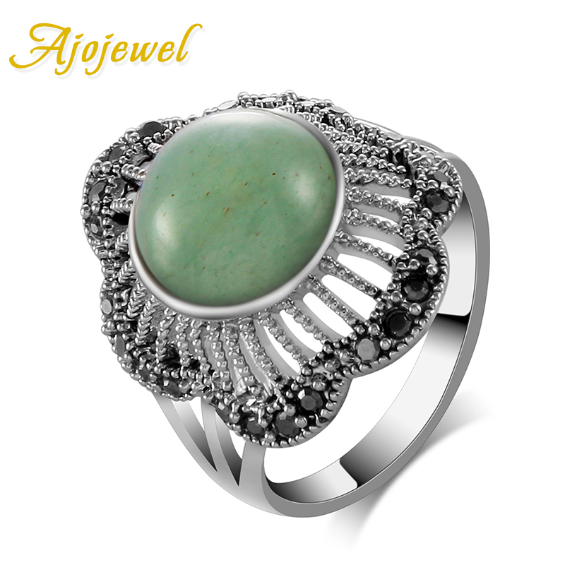Ajojewel New Style Green Stone Antique Ring Կանայք Black CZ Flower Shaped Finger Ring Cute Jewelry Bijoux նվերներ