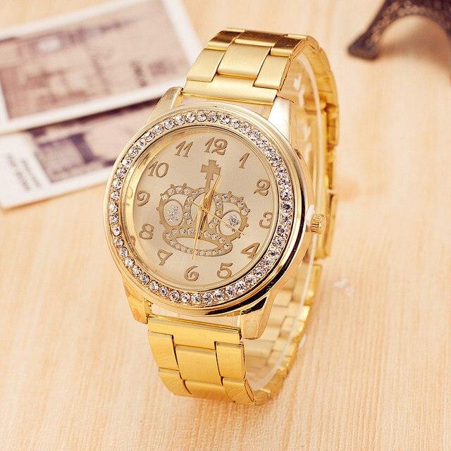 6bbc858d4b7 Coroa de diamantes Mulheres Relógios Top Marca de Luxo Relógio de Quartzo  As Mulheres Se Vestem