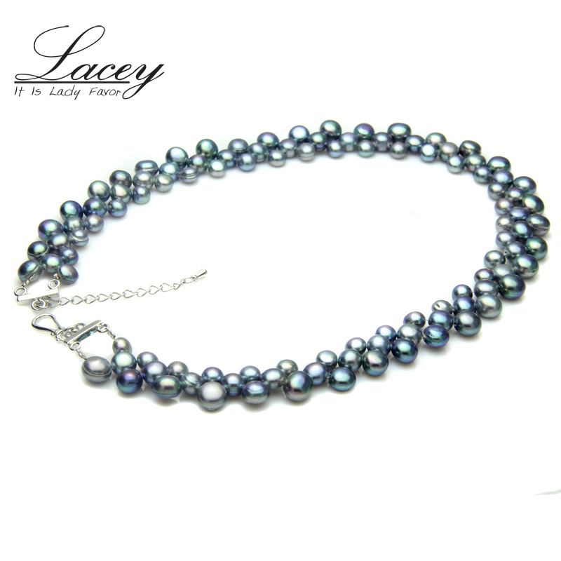 100% Real Freshwater black pearl necklace for women,wedding chunky - Fine Jewelry - Photo 1