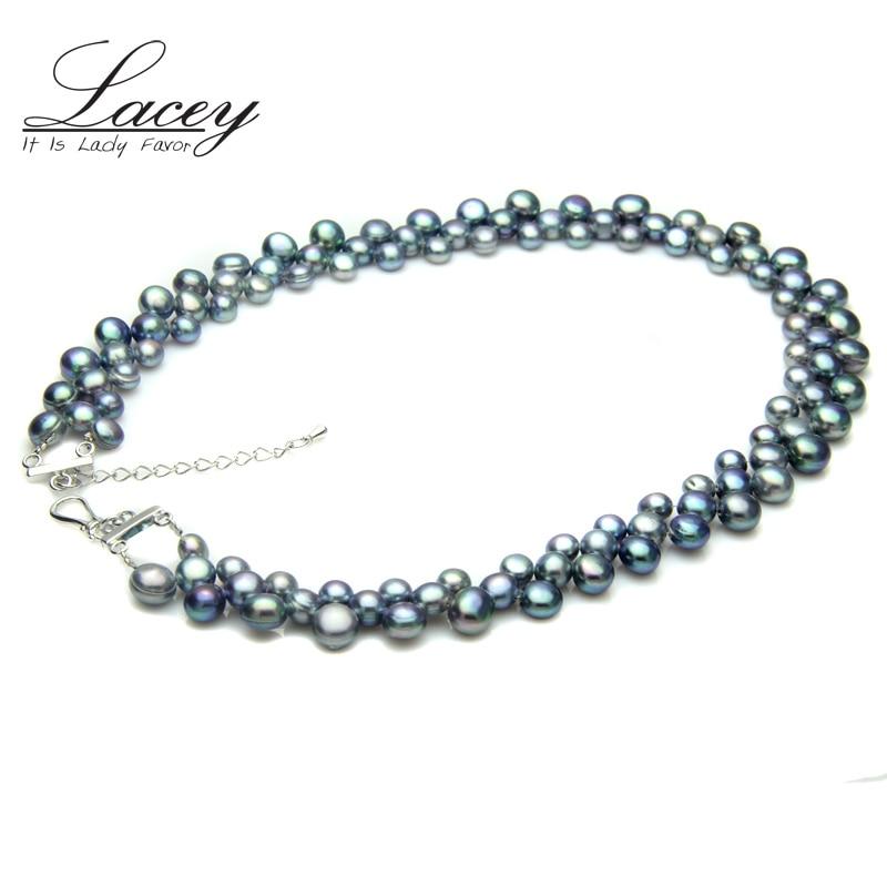 100% ekte ferskvann svart perlekjede for kvinner, bryllup chunky - Fine smykker