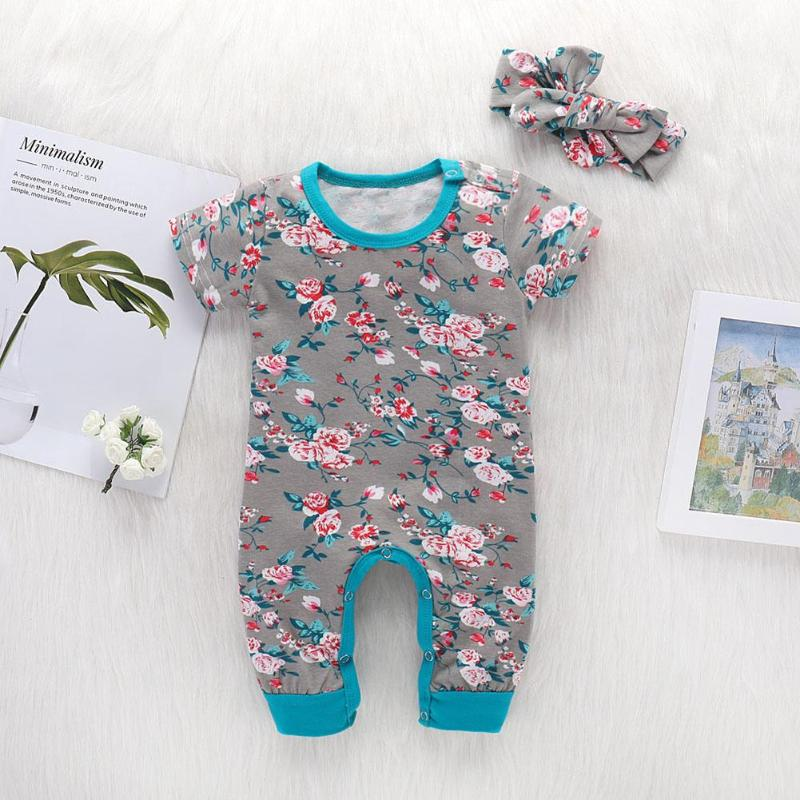 Summer Baby Girls Clothes Cotton Girls Romper with Headband Infant Cute Short Sleeve Floral Print O-Neck Romper Jumpsuit for Kid