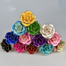 UBUY Colorful 24k Gold Plated  Artificial Rose Flower With Gift Box For Wedding Home Decoration