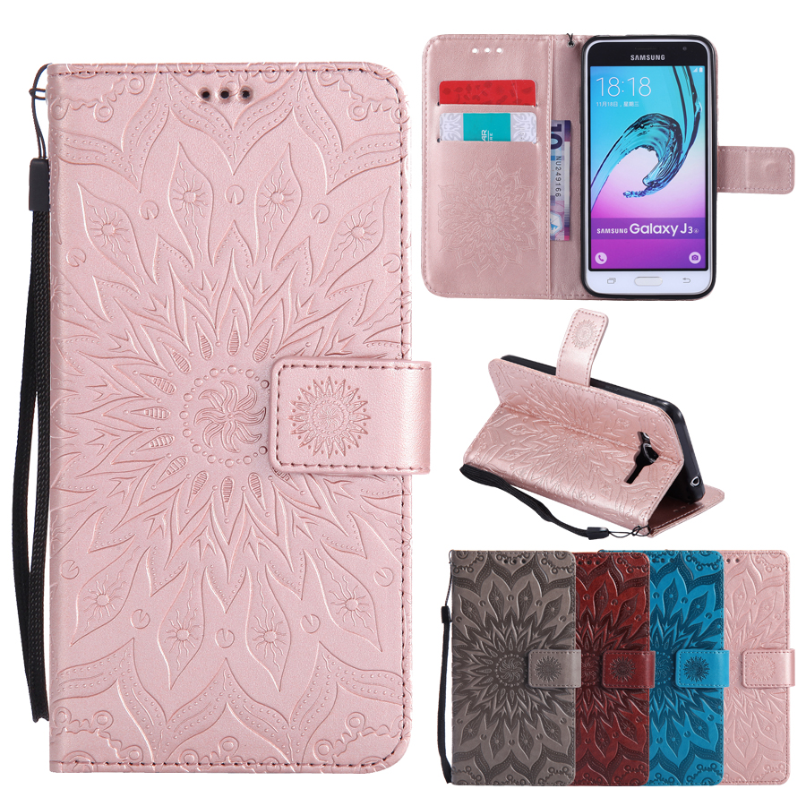 Galleria fotografica Flip Leather Case sFor Fundas Samsung Galaxy J3 2016 case For coque Samsung J3 2017 EU Version Wallet Cover Stand Phone Cases