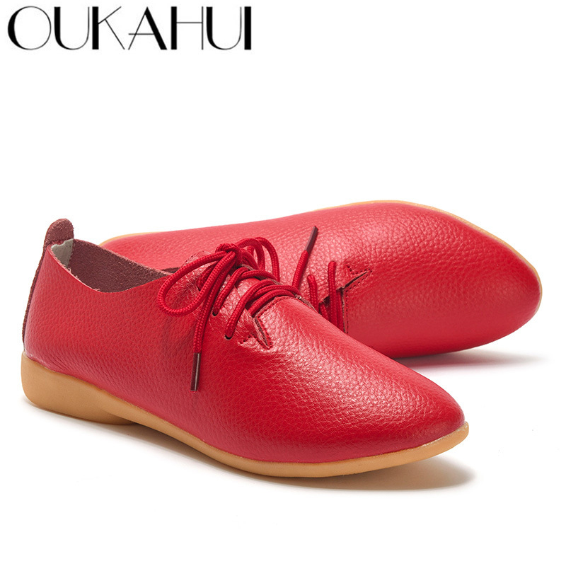 OUKAHUI 16 Colors Spring Summer Flat Casual Shoes Women Flats Split Cow Leather Pointed Toe Oxford Shoes Women Leather Lace-Up