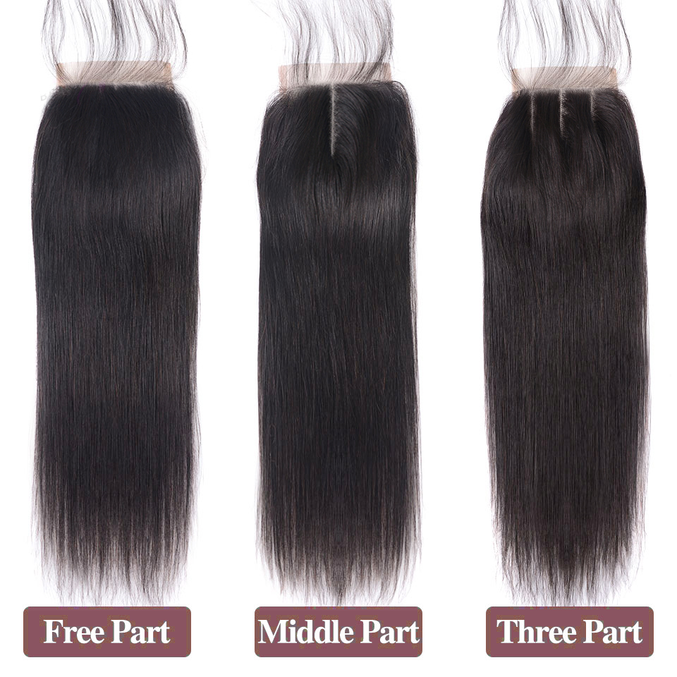 Lanqi Hair Straight Hair Closure Free Middle Three Part Non Remy Peruvian Human Hair 4x4 Swiss Lace Top Closure 8 To 22 Inch