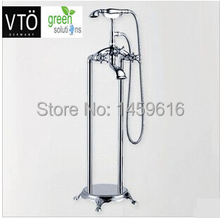 Phone Style Floor-Mounted Clawfoot Bath Tub Filter Faucet Tap with Handshower W6024 680