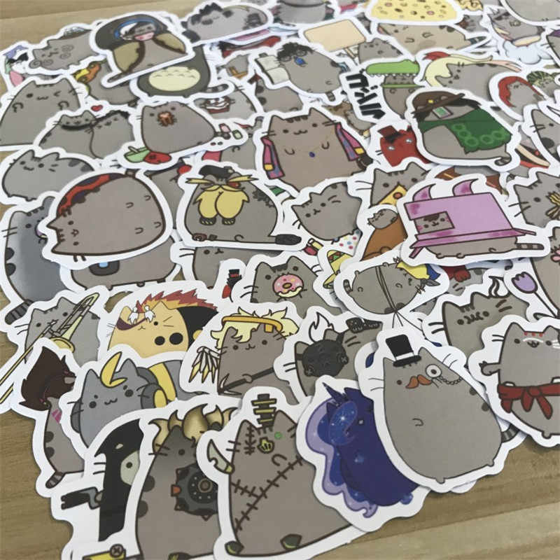 100Pcs/lot Cartoon Cat Stickers For Snowboard Laptop Luggage Car Fridge Car- Styling Vinyl Decal Home Decor Stickers