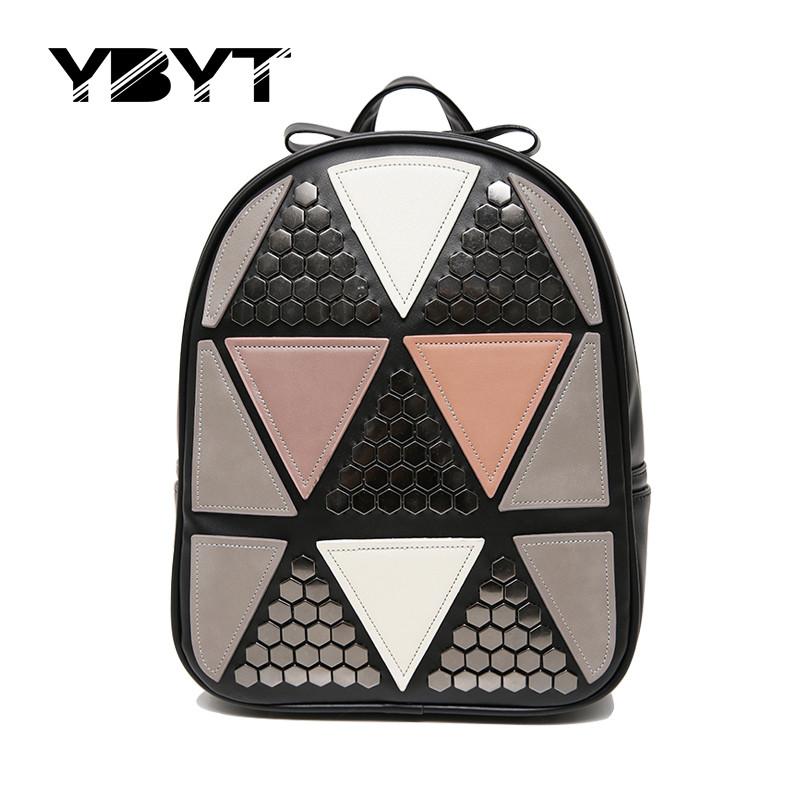 Prix pour YBYT marque 2017 nouvelle mode preppy style rivet géométrique patchwork sac à dos hotsale dames voyage sac d'école des élèves à dos