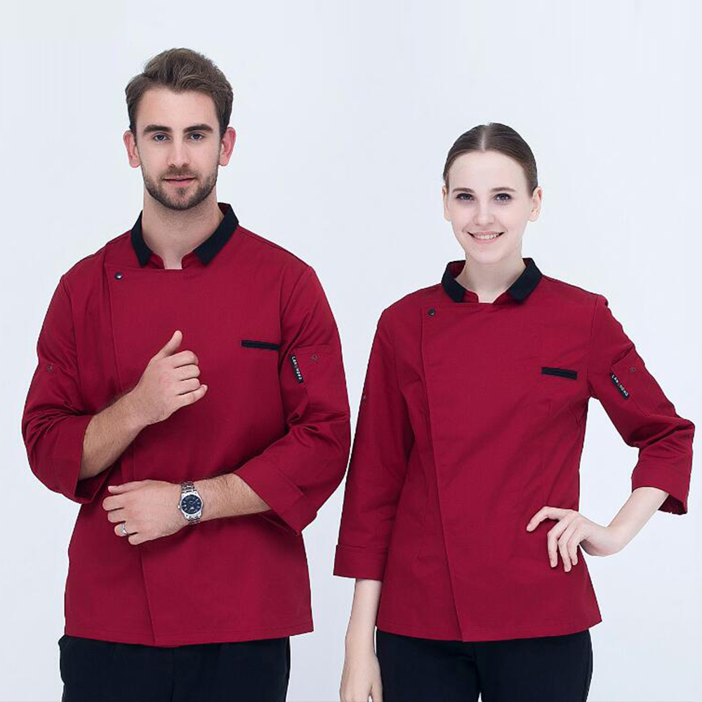 New Fashion Lapel Chef Jacket Autumn & Winter Hotel Restaurant Kitchen Long-sleeve Man And Woman Work Wear Uniform Cook Clothes