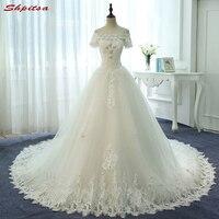 Dantel Gelinlik ile Kollu A Hattı Boncuklu Kristal Kapalı Omuz Düğün Kıyafeti Weding Gelin Gelin Elbiseler Weddingdress