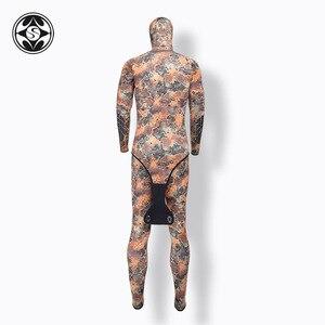 Image 3 - SLINX 2 adet kamuflaj kapüşonlu Wetsuit seti kolsuz tüplü dalgıç kıyafeti + ceket sıcak tutmak Spearfishing dalış elbisesi 3mm neopren