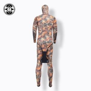 Image 3 - SLINX 2 חתיכות הסוואה ברדס חליפת צלילה סט שרוולים צלילה חליפה + מעיל להתחמם Spearfishing רטוב חליפת 3mm neoprene