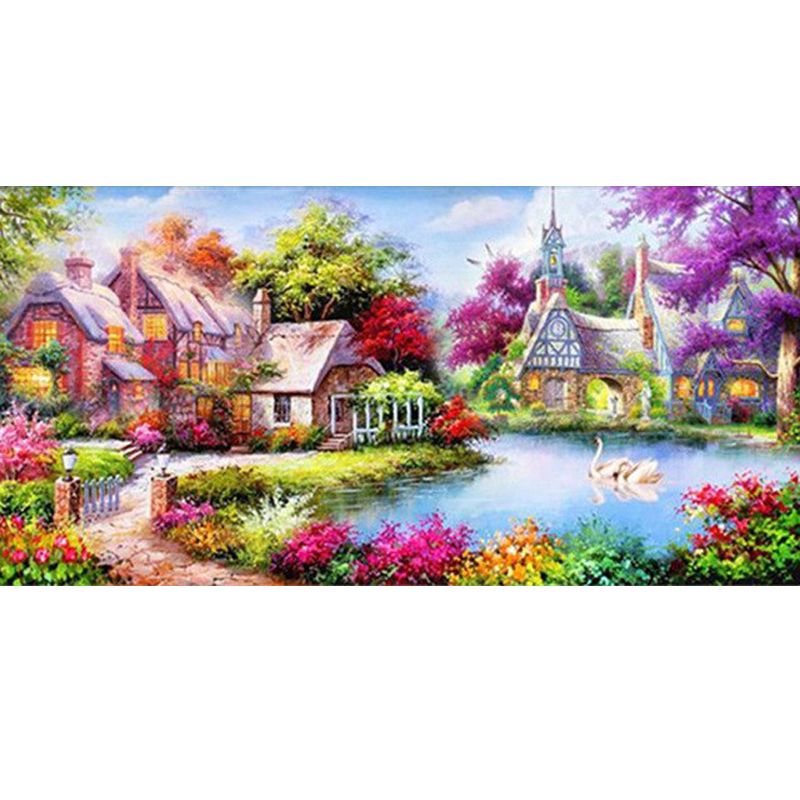 GLymg Diy Алмазная картина с видом на сад краска для дома с алмазной полной дрелью Алмазная вышивка Стразы мозаика подарок домашний декор Алмазная роспись, вышивка крестом      АлиЭкспресс