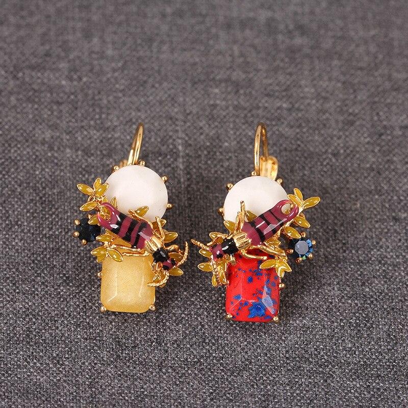 Nuovi Arrivi Essere Elencati Orecchini Francia Vestito Principale Gancio Dell'orecchio Eardrop Smalto Smalto A Due Colori Api Ornamenti