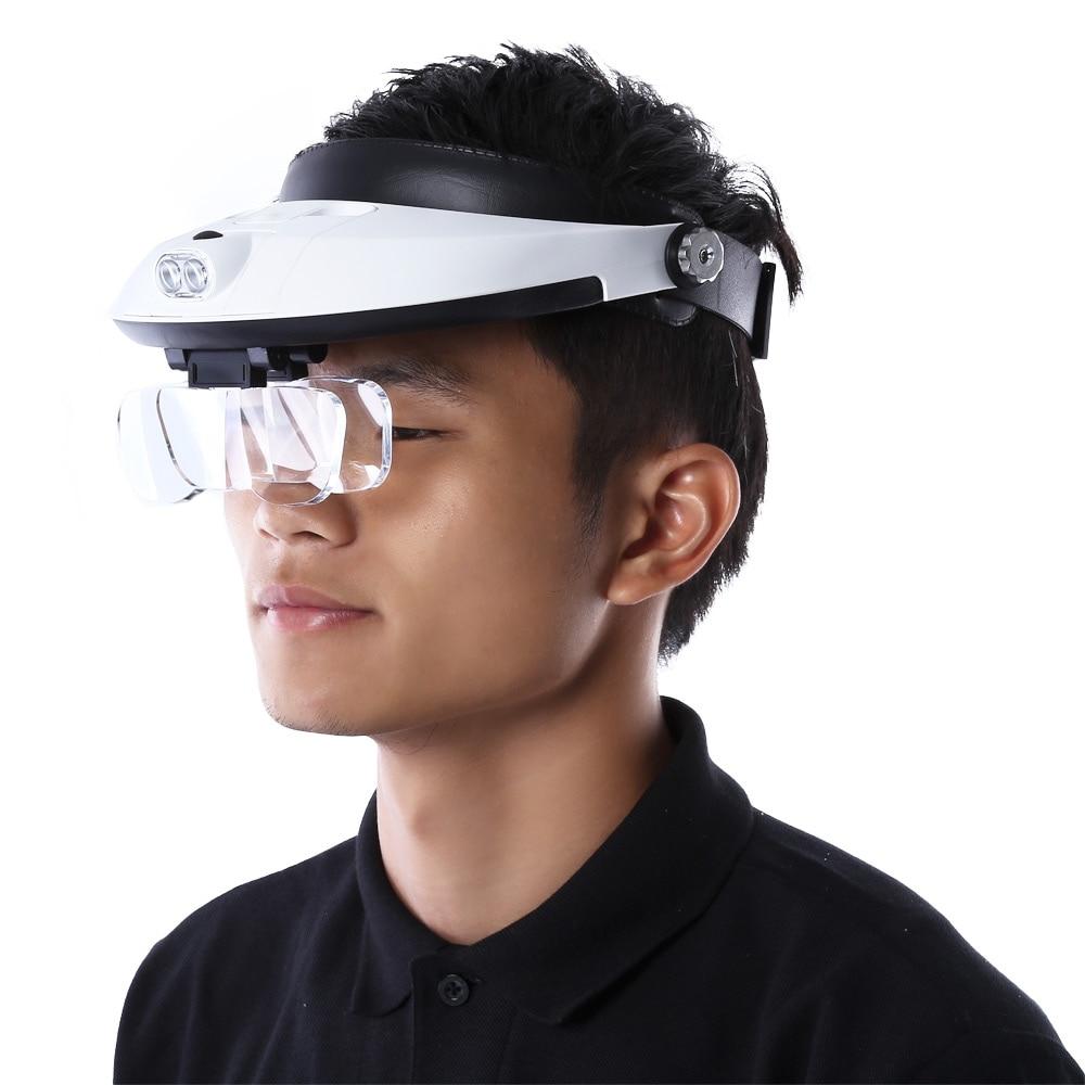Headband 5lens Binoculars Third Hand Magnifier Light
