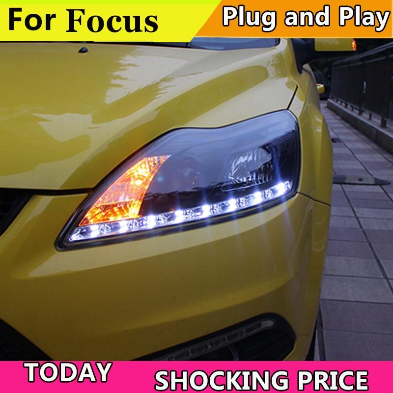 Car Styling Headlights for Ford Focus 2009-2011 LED Headlight for Focus Head Lamp LED Daytime Running Light LED DRL Bi-Xenon HID car styling head lamp for hyundai ix25 headlights 2015 creta led headlight drl daytime running light bi xenon hid accessories