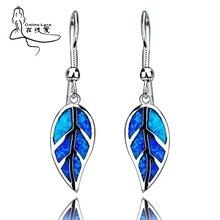 Элегантные серебряные серьги в форме листа с голубым опалом и драгоценным камнем для женщин, распродажа, модные свисающие серьги, высокое качество, модные ювелирные изделия для женщин