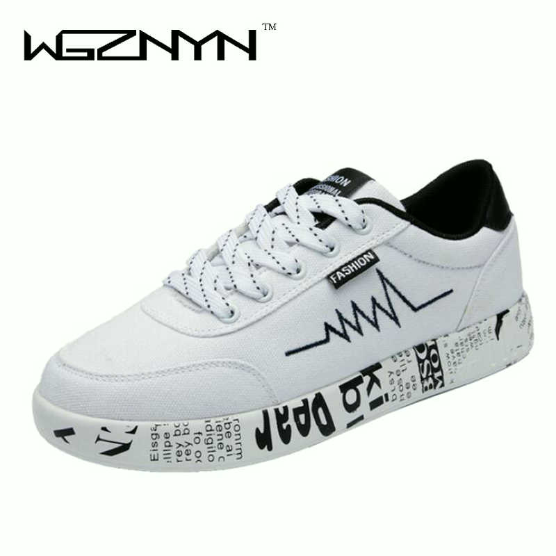 2018 Fashion Women Vulcanized Shoes Sneakers Ladies Lace-up Casual Shoes Unisex Breathable Walking Canvas Shoes Graffiti Flat W6