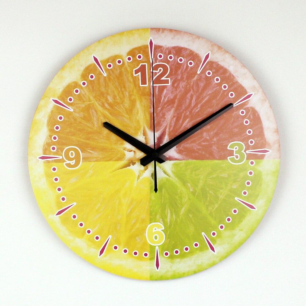 Современный Лимон Настенные Украшения Настенные Часы С Водонепроницаемый Циферблат Моды Красивые Украшения Дома Кухня Настенные Часы Часы часы для дома часы на стену часы настенные
