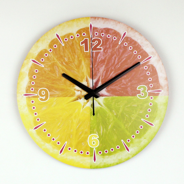 Modern Lemon Wall Decoration Wall Clock With Waterproof Clock Face Fashion Beautiful Home Decoration Kitchen Wall Clock Watch