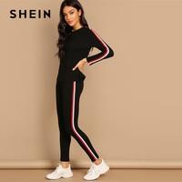 SHEIN уличная черная полосатая ленточный Тройник, штаны с длинными рукавами, круглый набор для грифа, женские комплекты из двух предметов, 2019, ...