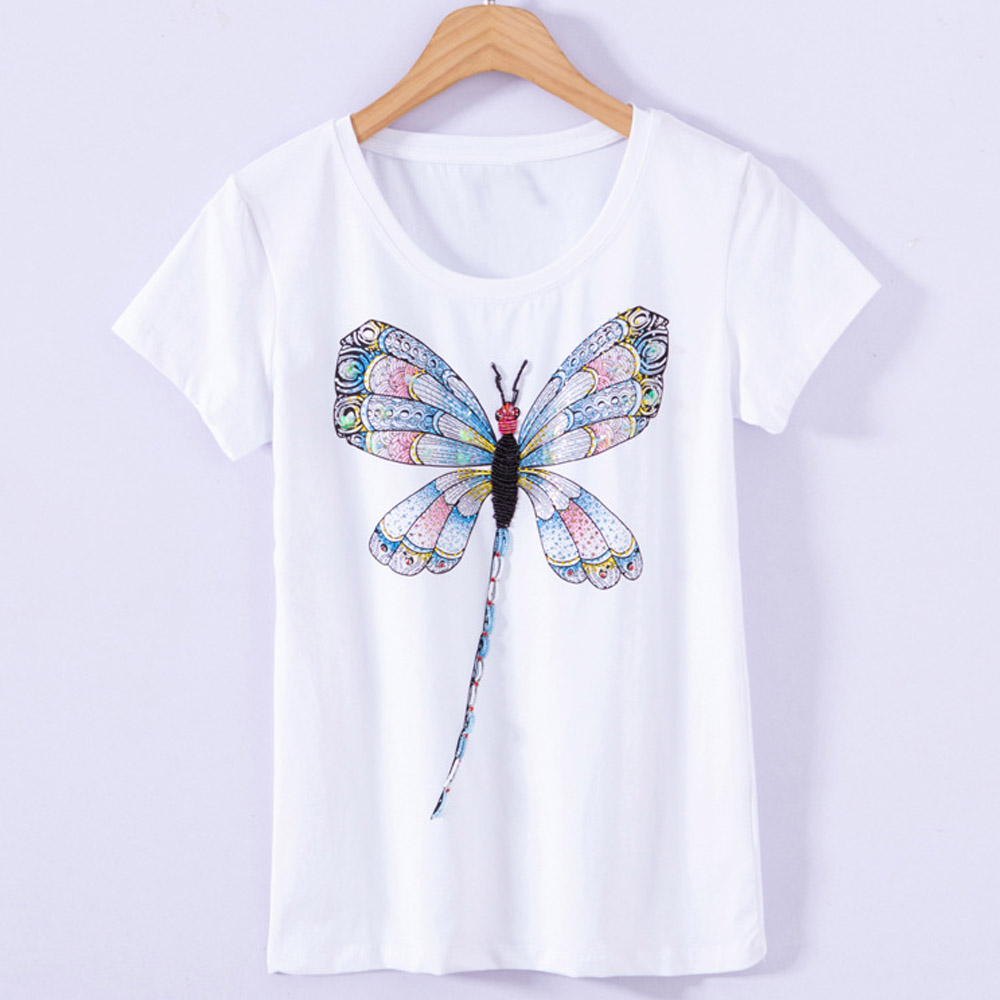 100% Manual Beading Cotton T-Shirts Women's Fashion Diamonds Dragonfly   Spring Summer Fall Nice Bottom Apparels 4XL Plus Size