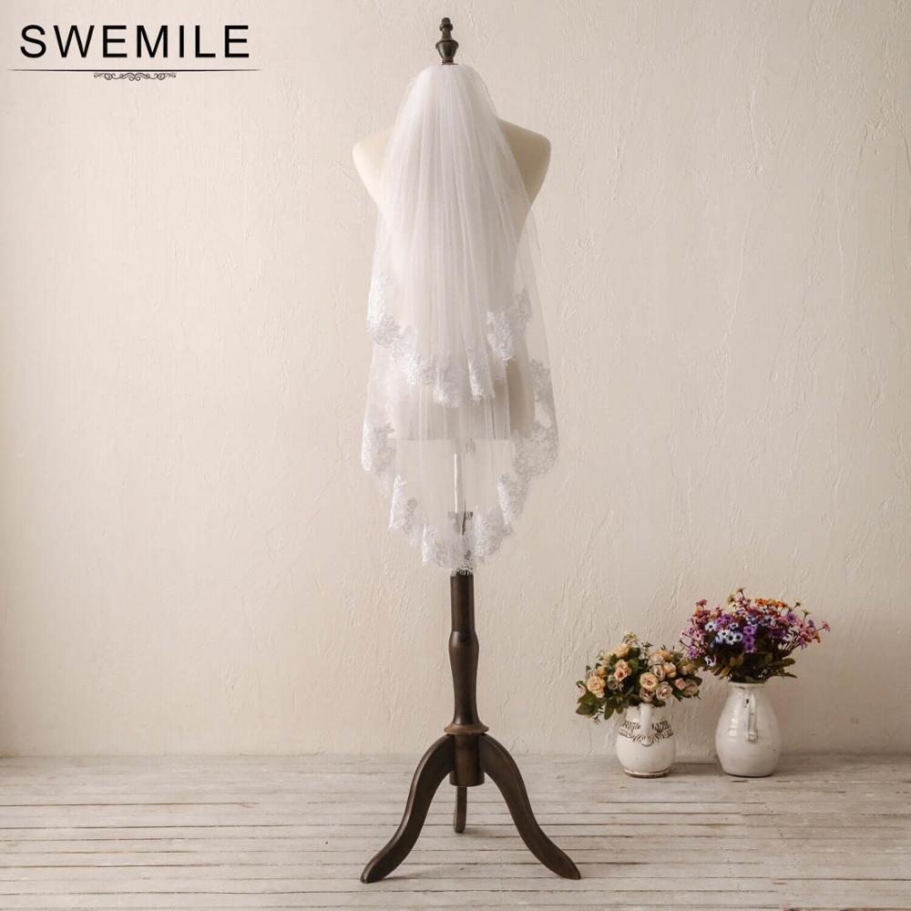 SWEMILE Two Layer Tulle Short White Ivory Wedding Veil Face Covered Fingertip Bridal Veil With Comb Velo De Novia