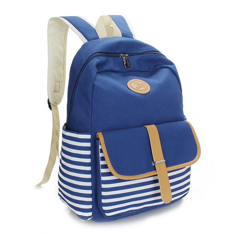 2016 fashion Korean Japanese preppy style striped shoulders backpacks wild tide female bag schoolbag women ladies girl Backpacks