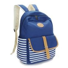 2016 моды Корейский Японский опрятный стиль полосатый дикий прилив женская сумка школьный плечи рюкзаки женщины дамы девушка Рюкзаки