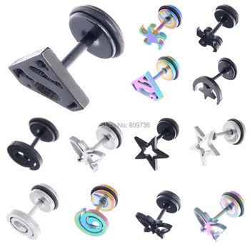 2PCS Gothic Faux Star Ear Plug Stainless Steel Mens Ear Stud Screw Silver Black Skull Earrings Piercing jewelry Wholesale plantronics зарядка