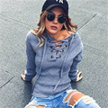 Autumn And Winter Ribbed Women Sweatshirt Long Sleeve Lacing Up Neck Hoodie Knitwear Thick Hoodies Elastic Hem Pullover Outwear