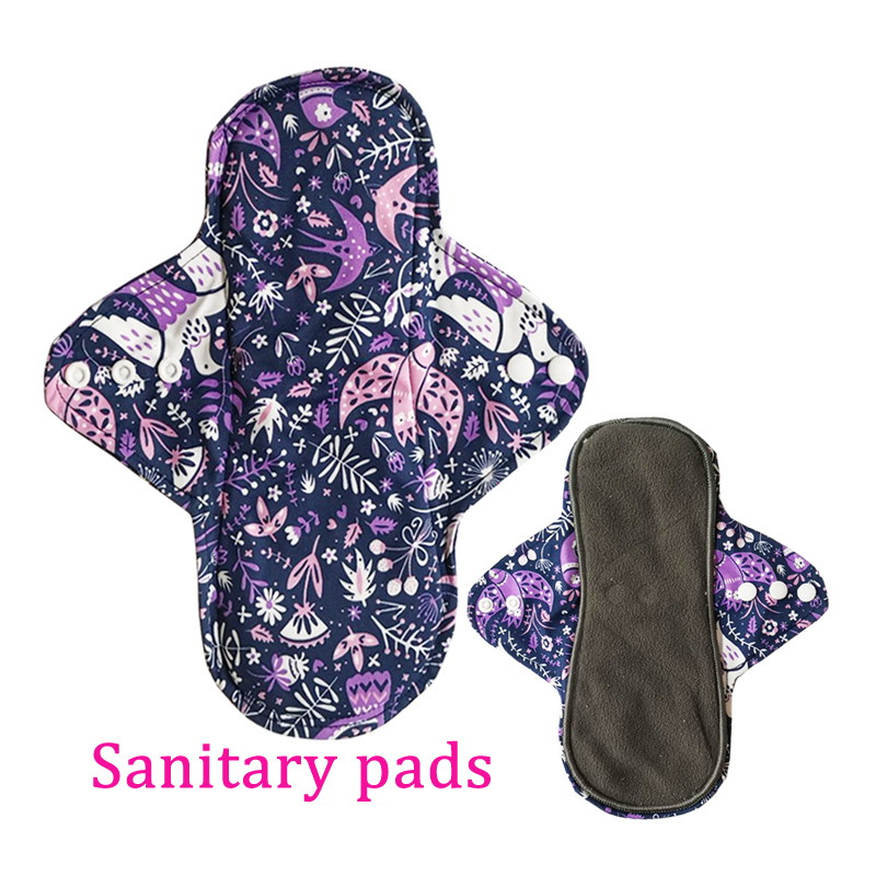 1 PC Women Menstrual Pads Reusable Sanitary Napkin Absorbent Reusable Charcoal Bamboo Cloth Pads Washable Sanitary Pads