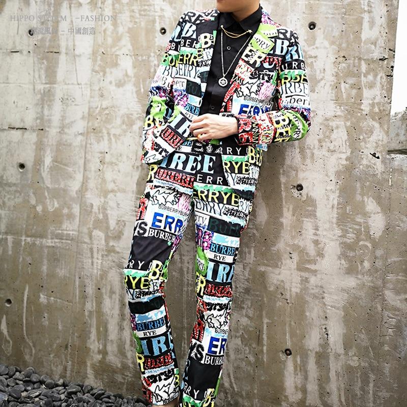 Men 2PCS Suits Sets (jacket+pant) Male Fashion Letters Print Streetwear Hip Hop Slim Fit Casual Suit Coat Blazer Jacket
