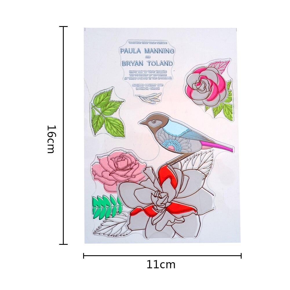 11x16cm Clear Stamp Spring Cute Flowers Envelope Diy Scrapbook Card