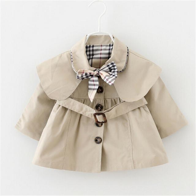 2016 Primavera e No Outono moda bonito das crianças de algodão Turn-down Collar manga comprida casual casaco Outerwear bebê