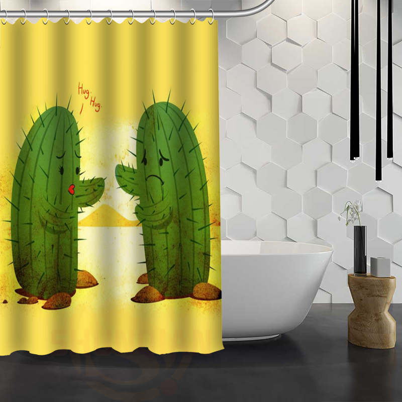 Aliexpress Buy Custom Cactus Shower Curtain Waterproof Fabric For Bathroom WJY117 From Reliable Curtains Suppliers On Rose