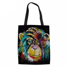 Reusable Grocery Women Tote Bag Eco Big Foldable Shopping Bags Baboon Animal Lion Tiger Canvas Cotton Ecobag