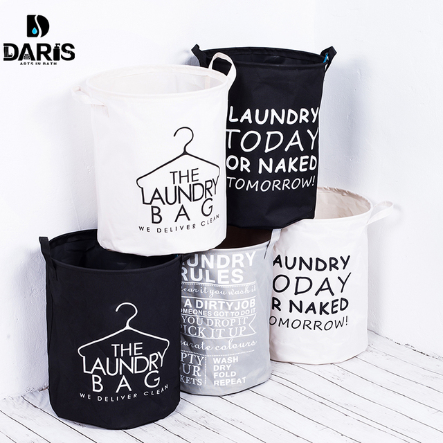 Daris Fashion Fabric Laundry Basket Bag Dirty Pouch Folding Bracelet Bathroom Product Black And