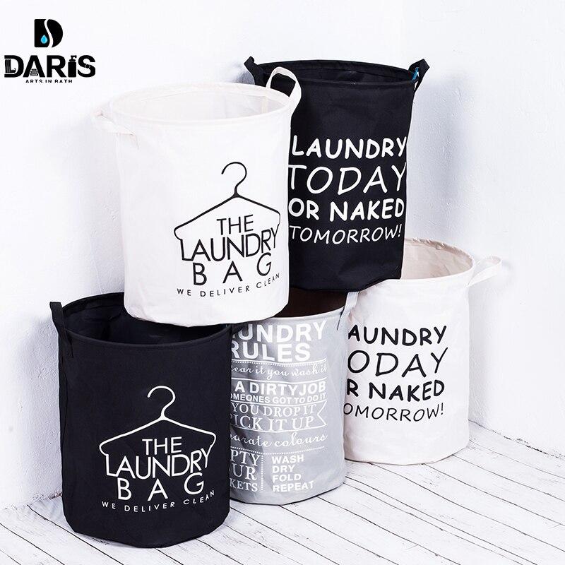DARIS Fashion Fabric Laundry Basket Bag Dirty Pouch Folding Bracelet Laundry Bag Bathroom Product Black and white gray classic