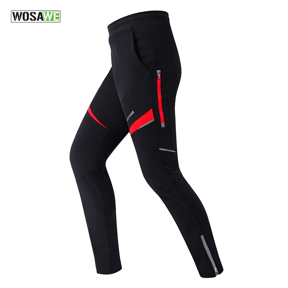 WOSAWE Men Fleece Thermal Cycling Pants Winter Windproof Waterproof Tights & Pants Bicycle MTB Road Bike Clothing Sportswear nuckily men s winter bicycle pants waterproof and windproof outdoor breathable polyester durable fabric cycling sports tights