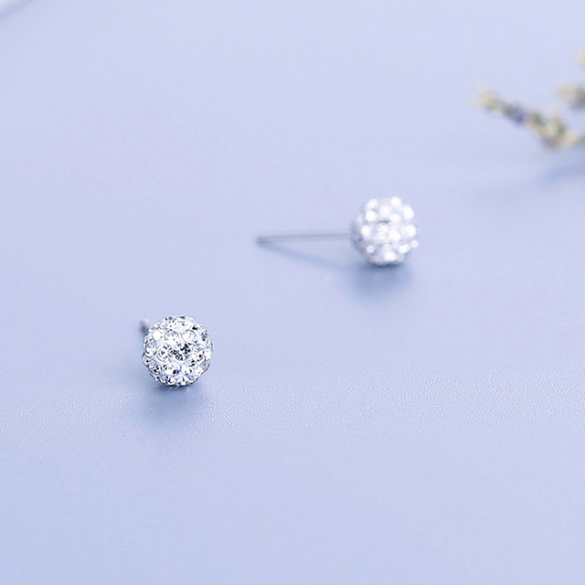 40c9f8f0e Martick Luxury Crystal Stud Earrings 925 Silver Jewelry Woman Round Boll CZ Stud  Earrings Brincos For