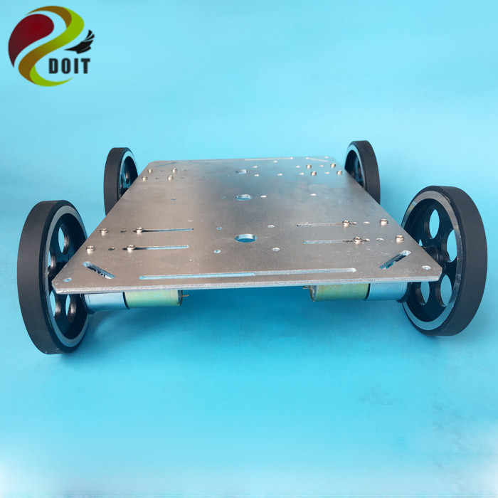 Chasis de coche inteligente DOIT Metal 4WD con placa impulsada por Motor de gran potencia + placa Nodemcu ESP8266 con agujeros de interfaz de brazo robótico