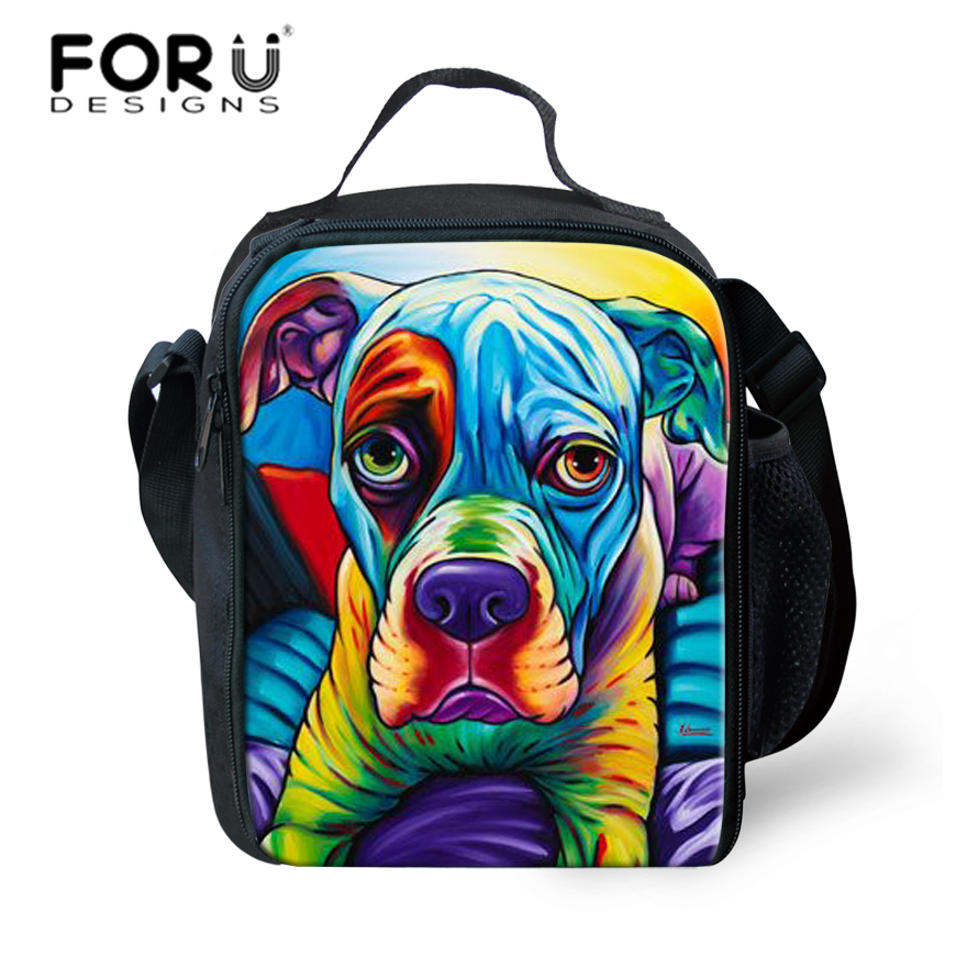 FORUDESIGNS Lunch Bag Children Cooler Lunch Box Food For Kids Boys Girls Dog Painting School Thermal Insulated Adult Pinic Box