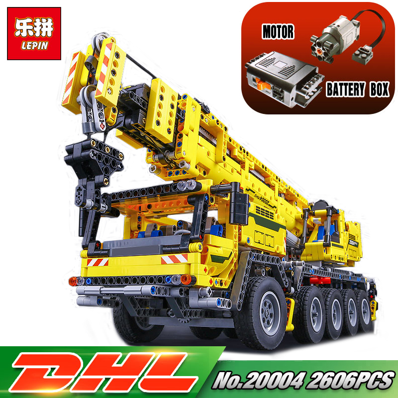 DHL LEPIN 20004 2606Pcs Technic Car Motor Power Mobile legoing 42009 Crane Mk II Model Building Kits Blocks Bricks Gift Kid Toys