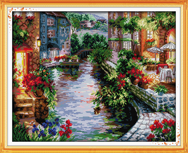 The Lakeside Houses Counted Cross Stitch 11CT 14CT 18CT DMC color DIY cotton silk floss Kits Embroidery Home Decor Needlework