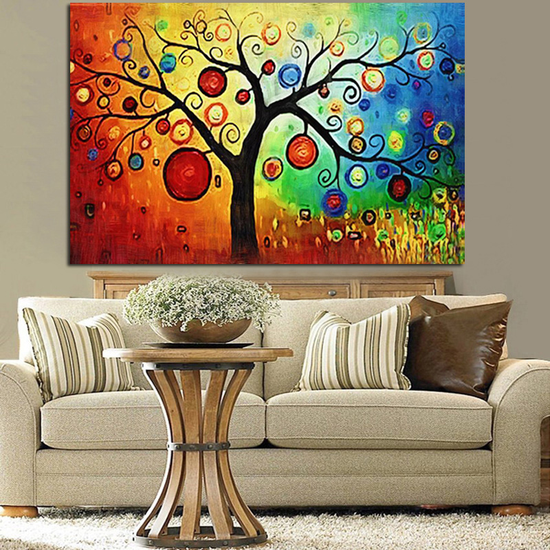 Více Akvarel Apple Tree Abstract Oil Painting HD Print on Canvas Art Wall - Obrázkek zdarma pro Living Room Sofa Cuadros Decoration