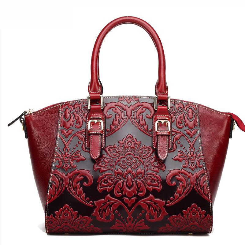 Famous brand top quality Cow Leather women bag   Original vintage handbag Chinese style embossed shoulder bag Bat bag famous brand top quality cow leather women bag 2016 new chinese style embossed handbag retro shoulder messenger bag