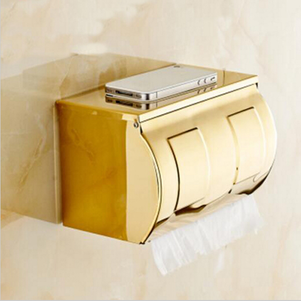 2016 Gold Paper Holder Bathroom Tissue Box Stainless Steel Waterproof Toilet