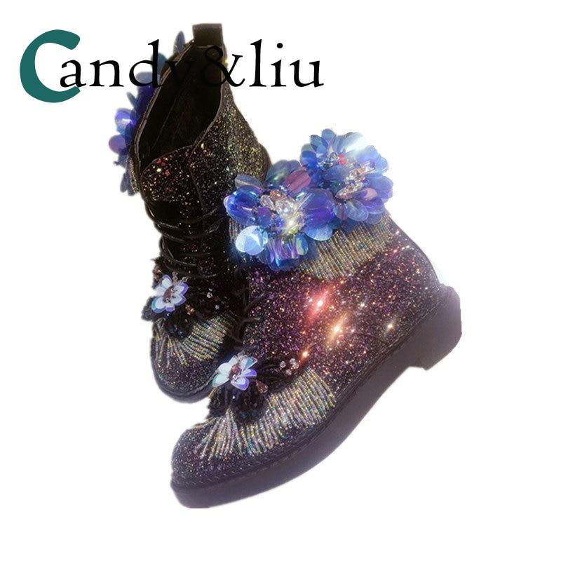 Paillettes colorées Bling noir bottes avec perle Tassle bout rond à lacets femmes chaussures pour filles dame étudiants